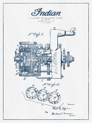 Motorcycle Digital Art - Indian Disk Clutch Patent Drawing From 1929 - Blue Ink by Aged Pixel