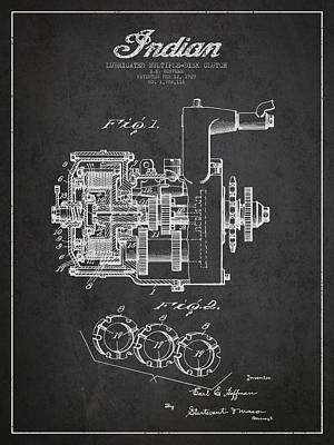 Indian Disk Clutch Patent Drawing From 1929 - Dark Art Print by Aged Pixel