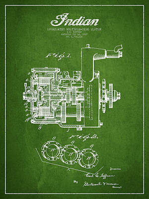 Indian Disk Clutch Patent Drawing From 1929 - Green Art Print by Aged Pixel