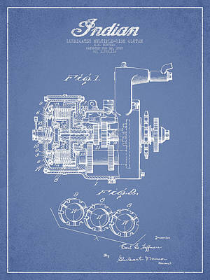 Indian Disk Clutch Patent Drawing From 1929 - Light Blue Art Print by Aged Pixel