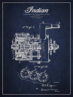 Indian Disk Clutch Patent Drawing From 1929 - Navy Blue Art Print by Aged Pixel