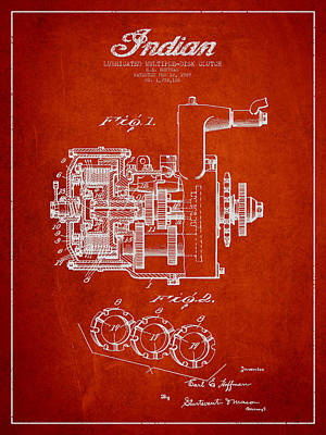 Indian Disk Clutch Patent Drawing From 1929 - Red Art Print by Aged Pixel