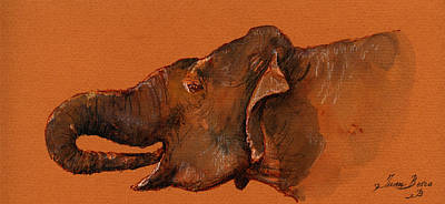 Tender Painting - Indian Elephant by Juan  Bosco
