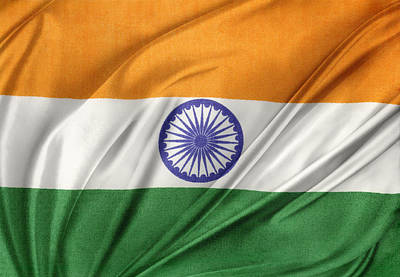 Waving Flag Photograph - Indian Flag by Les Cunliffe