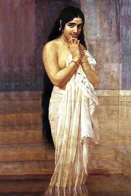 Digital Art - Indian Girl After Bath by Raja Ravi Varma