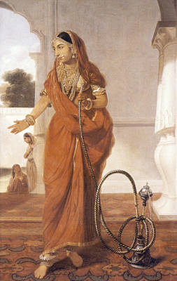 Indian Girl Dancing With A Hookah Print by Granger