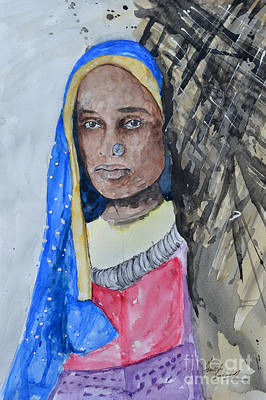 Isi Painting - Indian Girl by Ismeta Gruenwald