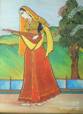 Indian Musical Instrument Painting - Indian Lady Playing Ancient Musical Instrument by Artist Nandika  Dutt