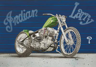 Indian Larry Painting - Indian Larry Tribute Bike by Mark Zelenkovich