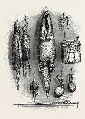 Medicine Bags Drawing - Indian Medicine Bag, Mystery Whistle, Rattles by American School