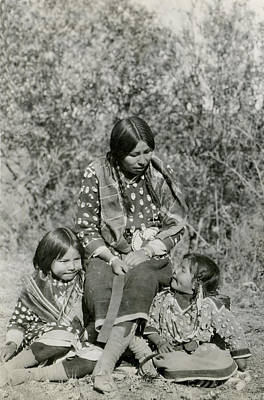 Photograph - Indian Mother With Daughters by Charles Beeler