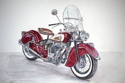 Indian Contemporary Artist Painting - Indian Motorcycle by Anthony Butera