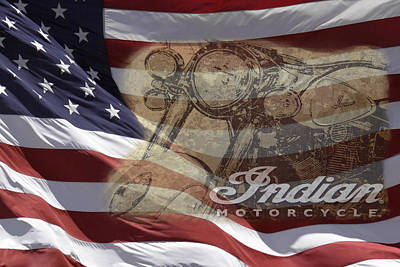 Photograph - Indian Motorcycle And U.s. Flag by Wes and Dotty Weber
