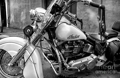 Photograph - Indian Motorcycle In French Quarter-bw by Kathleen K Parker