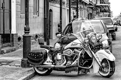Photograph - Indian Motorcycle In Nola-bw by Kathleen K Parker