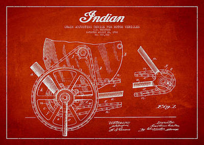 Motorcycle Digital Art - Indian Motorcycle Patent From 1902 by Aged Pixel