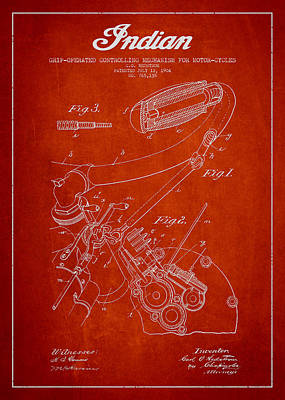 Motorcycle Digital Art - Indian Motorcycle Patent From 1904 - Red by Aged Pixel