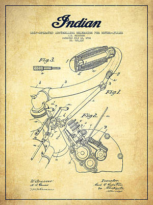 Indian Motorcycle Patent From 1904-vintage Art Print by Aged Pixel