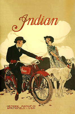Bike Digital Art - Indian Motorcycle Poster by Bill Cannon