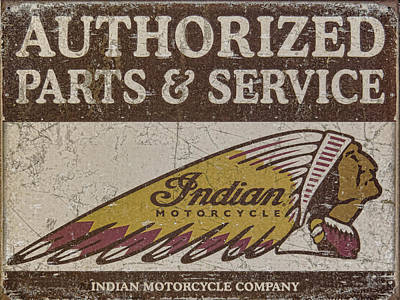 Photograph - Indian Motorcycle Sign by Wes and Dotty Weber