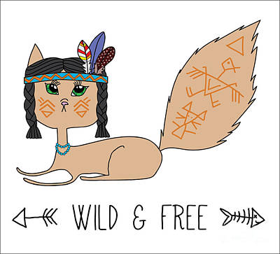 Tribal Wall Art - Digital Art - Indian Native American Cat, Sketch by Cat Naya