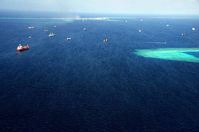 Photograph - Indian Ocean. Aerial View Of Maldives by Jenny Rainbow