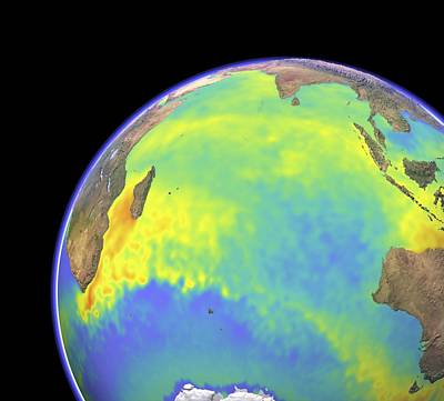 Er Images Photograph - Indian Ocean, Surface Temperatures by Science Photo Library