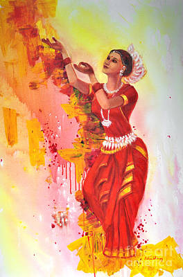 Painting - Indian Odissi Dancer  by Asha Sudhaker Shenoy