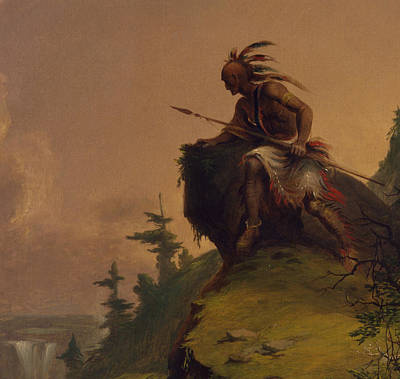 Native American Art Painting - Indian On A Cliff by Jesse Talbot