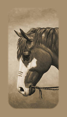 Wild Horse Painting - Indian Pony War Horse Sepia Phone Case by Crista Forest