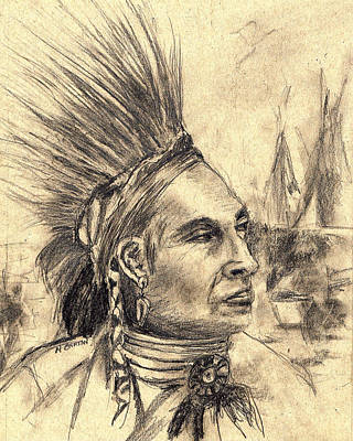 Drawing - Indian Pow-wow by Marilyn Barton