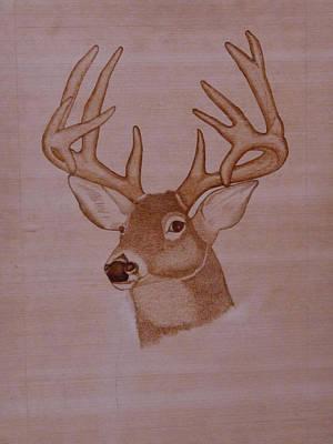 Pyrography Drawing - Indian Pyrography Horn Deer by Ashraf Mohammed Musaliyarkalathil