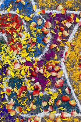 Indian Art Photograph - Indian Rangoli With Flower Petals by Tim Gainey
