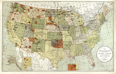 Reservations Drawing - Indian Reservations Of The United States - 1892 by Pablo Romero