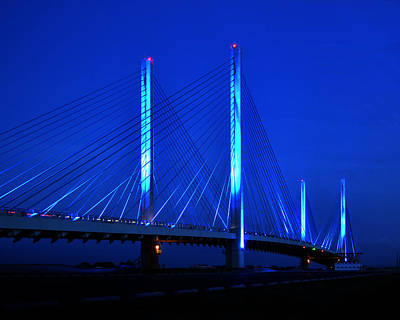 Photograph - Indian River Bridge At Night by Bill Swartwout