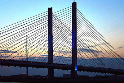 Photograph - Indian River Bridge Blue Light by Bill Swartwout