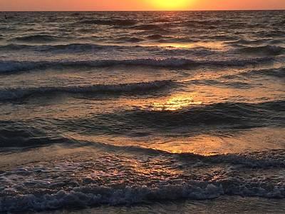 Indian Rocks Beach Waves At Sunset Art Print