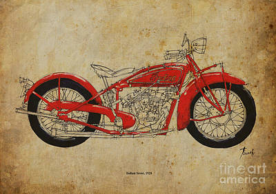 Bike Drawing - Indian Scout 1928 by Pablo Franchi
