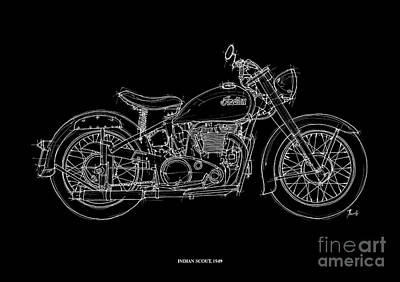 Bike Drawing - Indian Scout 1949 by Pablo Franchi