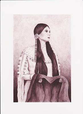 Indian Sioux Maiden Art Print by Billie Bowles