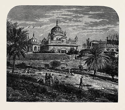 Indian Sketches The Tomb Of Runjeet Singh Art Print