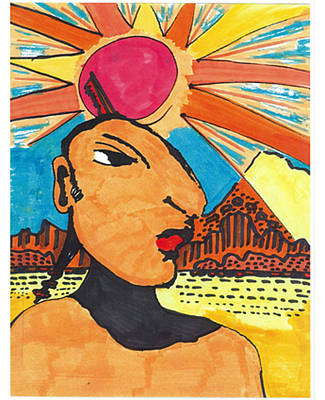 Art Print featuring the drawing Indian Sunshine by Don Koester