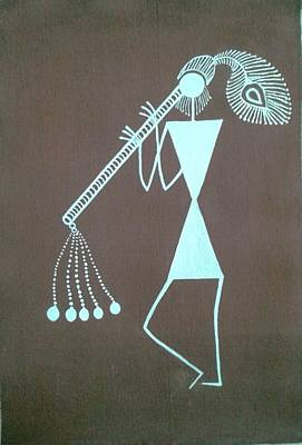 Indian Musical Instrument Painting - Indian Tribal Basoori Player by Kalpeshkumar Patel