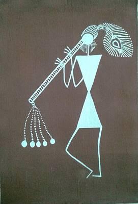 Tarpa Dance Painting - Indian Tribal Basoori Player by Kalpeshkumar Patel