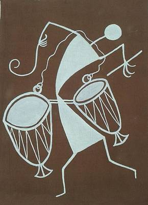 Indian Musical Instrument Painting - Indian Tribal Drummer by Kalpeshkumar Patel