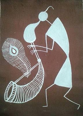 Tarpa Dance Painting - Indian Tribal Tarpa Player by Kalpeshkumar Patel