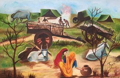 Bullock-cart Painting - Indian Village Landscape by Jyoti Sharma