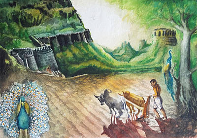 Frame Painting - Indian Village Life - 11 by Bhanu Dudhat