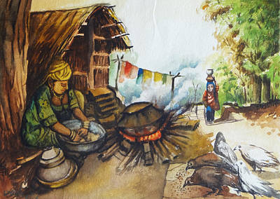 Contemporary Jewellery Painting - Indian Village Life - 6 by Bhanu Dudhat
