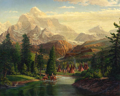 Indian Village Trapper Western Mountain Landscape Oil Painting - Native Americans Americana Stream Art Print by Walt Curlee